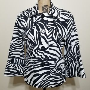 Rafaella Zebra Print Cotton Blazer Jacket Large
